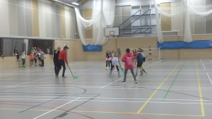 Photo of sports hall with childrens party
